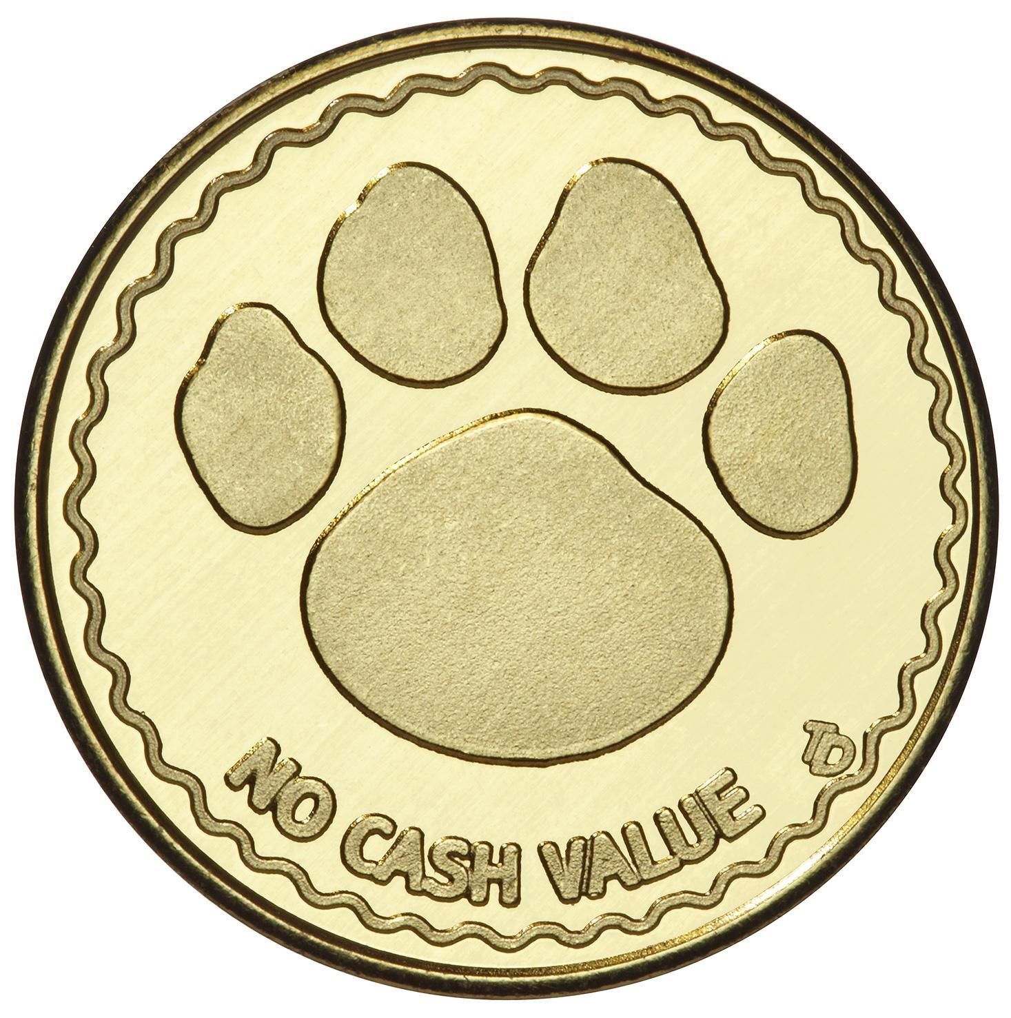 Stock Brass Paw Print Token
