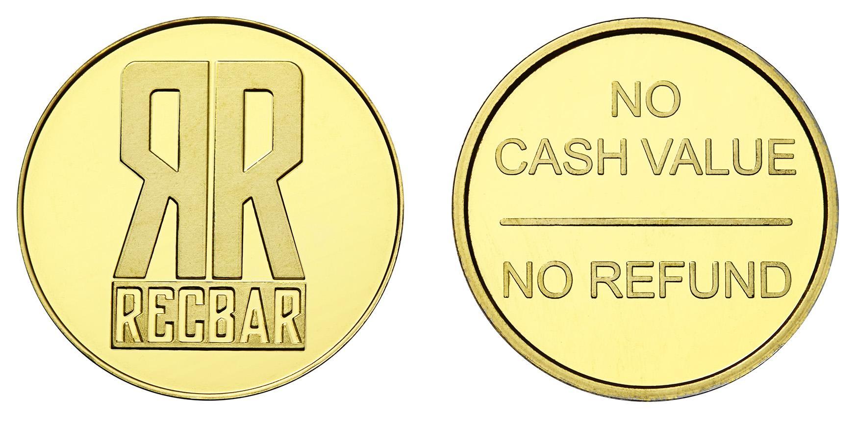Rec Bar Custom Brass Tokens