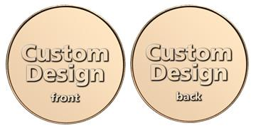 "Red Brass 0.900"" custom token"