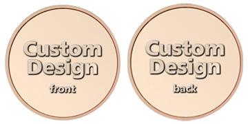 "Copper Plated Zinc 0.900"" custom token"