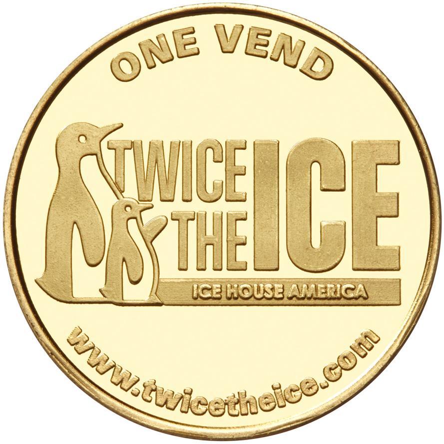Twice the Ice custom brass token