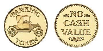 "Brass 1.073"" Parking Token/NCV stock token"