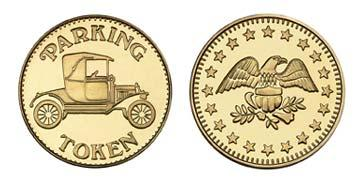 "Brass 1.000"" Parking Token/Eagle Stars stock token"