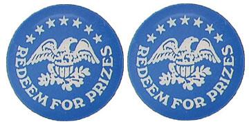 "Blue Plastic 1.630"" Redeem for Prizes/Eagle Stars stock token"
