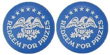 """Blue Plastic 1.630"""" Redeem for Prizes/Eagle Stars stock token"""