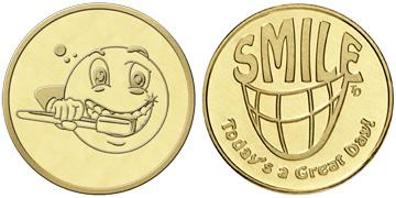 "Brass 0.984"" Smile Great Day/Brushing Smiley Face stock token"