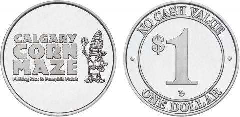 Calgary Corn Maze custom aluminum tokens