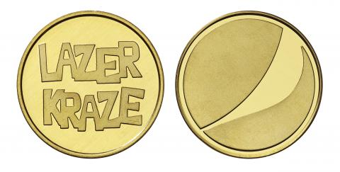 Lazer Kraze custom brass tokens