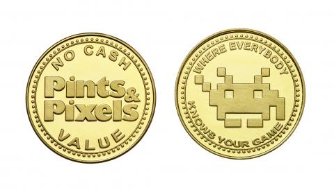 Pints & Pixels custom brass tokens