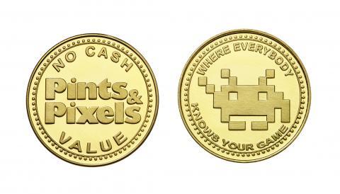 Pints & Pixels custom brass tokens