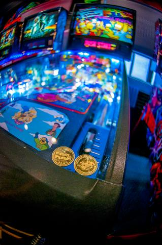 Tokens on a pinball machine